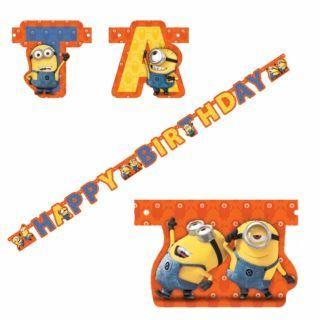 Banner decorativ Happy Birthday cu Minioni pentru petrecere - 1.8 m, Amscan, 1 buc