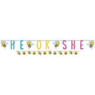 Banner decorativ pentru baby shower - He or She, 120395, 2 buc