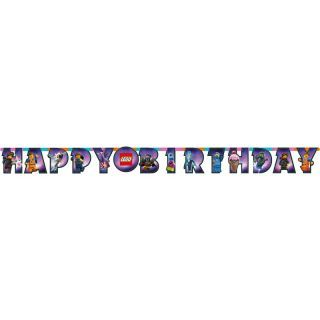 Banner decorativ pentru petrecere - 163 x 13 cm, Happy Birthday cu Lego Movie 2, Amscan