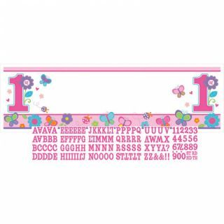 Banner decorativ pentru petrecere 1.65 m, Sweet Birthday Girl , Amscan, 1 buc