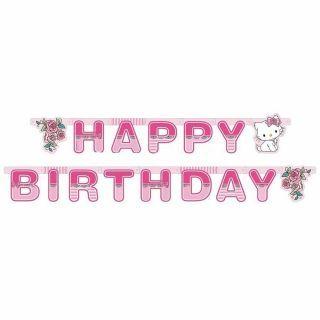 Banner decorativ pentru petrecere 1.8 m, Happy Birthday cu Charmmy Kitty, 1 buc