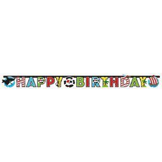 Banner decorativ pentru petrecere - 180 x 15 cm, Happy Birthday cu Pirat, 1 buc