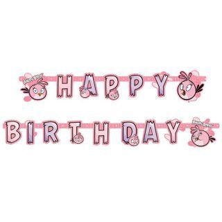 Banner decorativ pentru petrecere 1.8 m, Happy Birthday cu Angry Birds Pink, Amscan, 1 buc