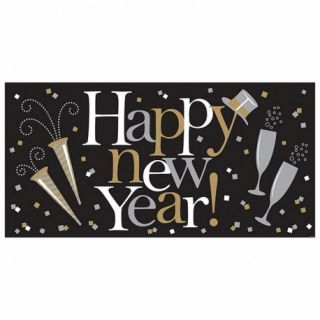 Banner decorativ pentru petrecere, Happy New Year, 165 x 80 cm, Amscan