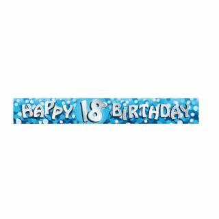Banner decorativ pentru petrecere majorat - 2.7 m, Happy Birthday 18 ani, Amscan, 1 buc