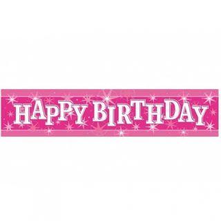 Banner decorativ roz pentru petrecere 2.6m, Happy Birthday, Qualatex