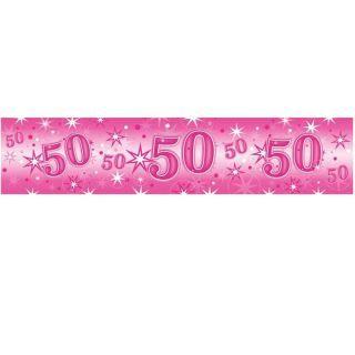 Banner decorativ roz pentru petrecere 50 ani - 2.6 m, Qualatex