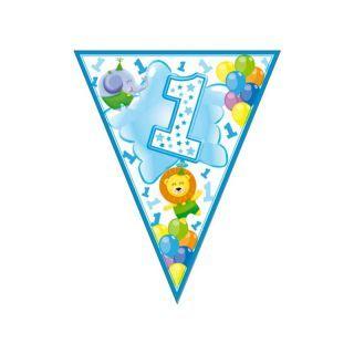 Banner fanioane animalute 1st birthday bleu - 3.6 m, Radar
