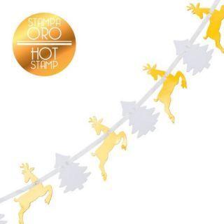 Banner pentru Craciun cu reni aurii si braduti albi - 3 m, Radar