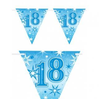 Banner stegulete pentru majorat - 2 m, Happy Birthday 18 ani, Qualatex