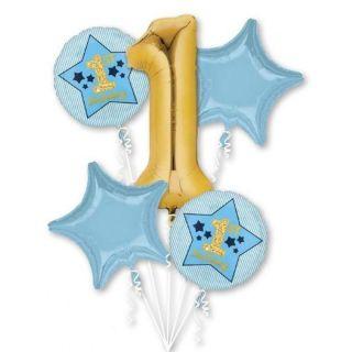 Buchet baloane folie 1st Birthday - blue & gold, A 40372, set 5 bucati