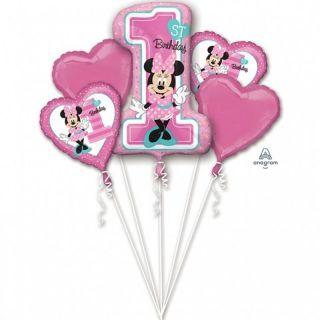 Buchet Baloane Minnie Mouse 1st birthday, Radar, set 5 bucati