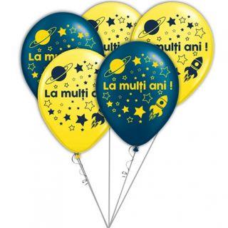 Buchet din baloane latex asortate La multi ani cu heliu, Radar