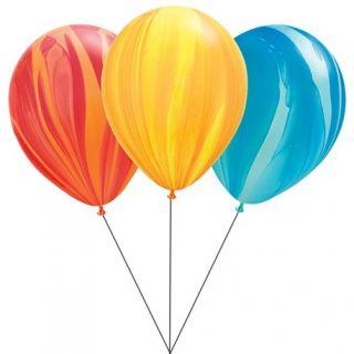 Buchet din baloane latex SuperAgate asortate cu heliu, Qualatex