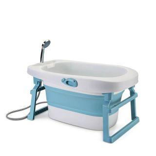 Cadita bebe albastra, baietel, pliabila, cu senzor temperatura