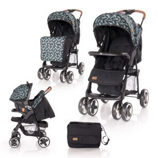Carucior Set  Ines, cos auto inclus, Black Leaves