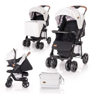 Carucior Set  Ines, cos auto inclus, Grey & Black