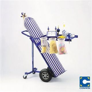 Carucior 4 roti pentru transport butelie cu masa de lucru, Conwin 30220, 1 buc
