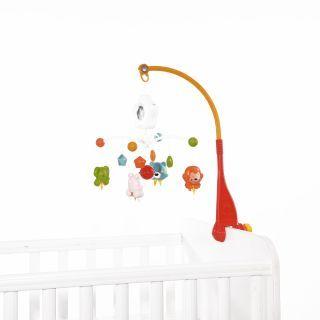 Carusel muzical pentru pat cu proiectie Happy Animals , Orange