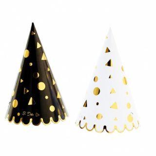 Coif petrecere alb/negru cu auriu pentru petrecere, Radar , Set 6 coifuri
