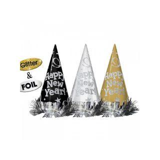 Coifuri Happy New Year cu sclipici - 22 cm, Amscan , set 12 buc
