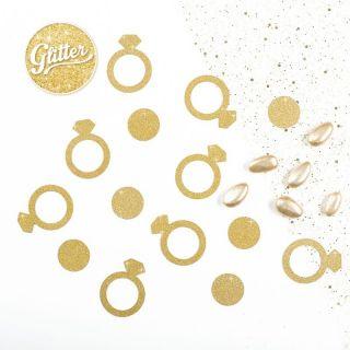 Confetti decorative aurii inel de logodna 5 cm, 41297