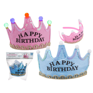 Coronita party cu leduri - Happy Birthday, 16 x 9 cm, Radar