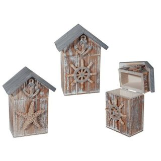 Cutie casuta decorativa din lemn cu ancora - 14,5 x 11 cm, Radar