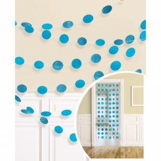 Decoratiune de agatat buline bleu cu sclipici - 213 cm, Amscan
