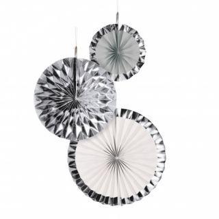 Decoratiuni argintii in forma de rozeta evantai, 18/30/38 cm, Radar