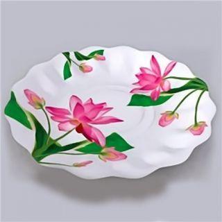 Farfurii albe cu flori fucsia 23 cm pentru petreceri, Radar , Set 10 buc