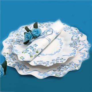 Farfurii albe cu floricele albastre 23 cm pentru petreceri, Radar