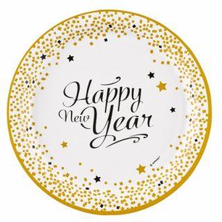 Farfurii carton Happy New Year Confetti, 23 cm, Amscan 9902270, Set 8 buc