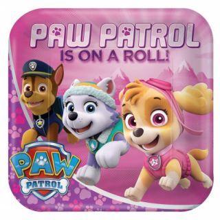 Farfurii carton Paw Patrol Pink pentru petrecere copii - 23 cm, Amscan