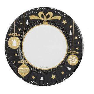Farfurii carton pentru petrecere Christmas Glamour - 21 cm, Radar