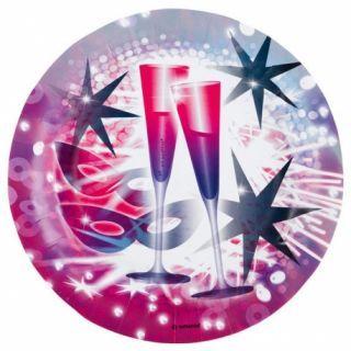 Farfurii carton pentru petrecere Revelion, Happy New Year - 23 cm, Amscan