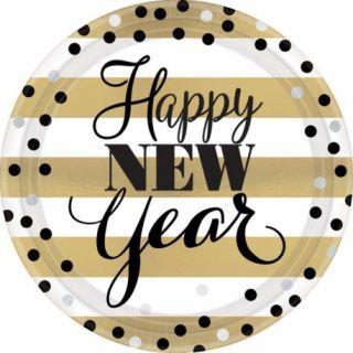 Farfurii carton pentru Revelion, Happy New Year - 23 cm, Amscan