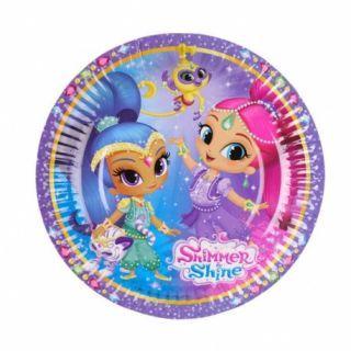 Farfurii carton Shimmer and Shine pentru petrecere copii - 18 cm, Amscan