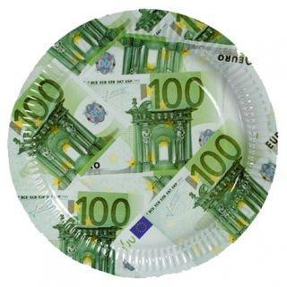 Farfurii cu bancnote euro 23 cm pentru petreceri