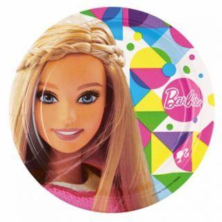 Farfurii cu Barbie Sparkle pentru petreceri copii - 23 cm, Amscan , Set 8 buc