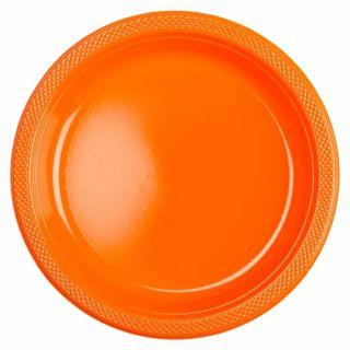 Farfurii orange din plastic - 18cm, Amscan 552284-05, Set 10 buc