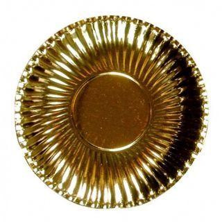 Farfurii petrecere carton aurii 23 cm, Radar , Set 10 bucati