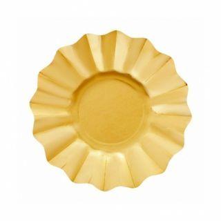 Farfurii petrecere carton aurii satinate - 21 cm, Radar