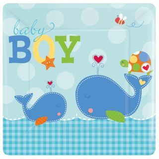 Farfurii petrecere copii 18 cm Ahoy Baby Blue, Amscan , Set 8 buc