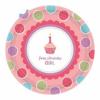 Farfurii petrecere copii 18 cm Sweet First Birthday Girl, Amscan , Set 8 buc
