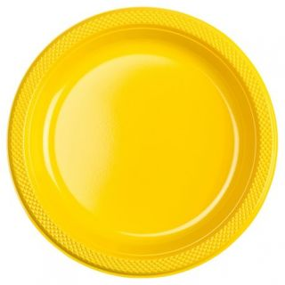 Farfurii plastic Sunshine Yellow 23 cm pentru petreceri, Amscan 552285-09, Set 10 buc