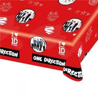 Fata de masa din plastic pentru petrecere copii - One Direction, 180 x 120 cm
