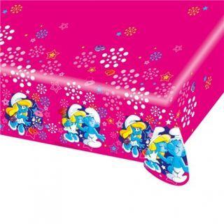Fata de masa din plastic pentru petrecere copii - Smurfette, 180 x 120 cm