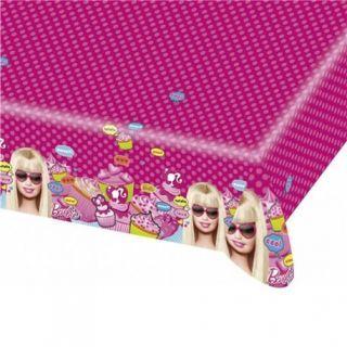 Fata de masa din plastic pentru petrecere copii - Totally Barbie, 180 x 120 cm