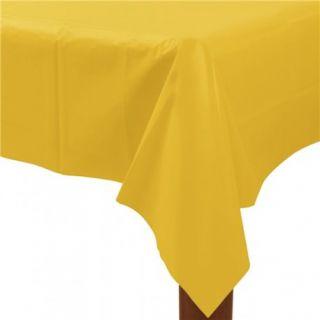 Fata de masa din plastic pentru petreceri - Sunshine Yellow, 137cm x 274 cm